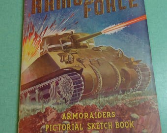 Vintage WWII Armored Force Armoraiders Pictorial Sketch Book, Vintage World War II, Vintage WWII, Vintage Armoraiders