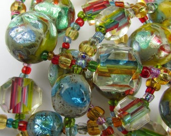 Art Deco Bohemian Czech Rainbow Crystal & Foil Iris Glass Beads Necklace
