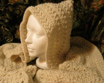 Crochet Cream Hooded Scarf Scoodie