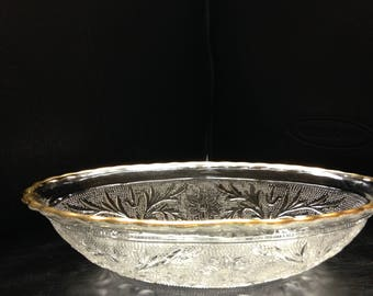 Brilliant cut glass gold trimmed bowl