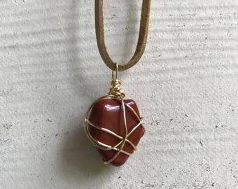 Red Jasper Necklace, Chakra Healing Stone Jewelry, Gold Wire Wrap