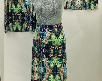 Woman's Comfortable A-line skirt/yoga fold-over waistband/printed fabric