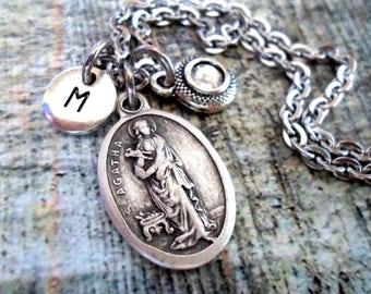 St. Agatha Swarovski Birthstone, Initial, Personalized Necklace, Patron Saint or Nurses, Breast Cancer Patients, RN, LPN Graduation Gift