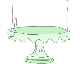 Glass cake stand clip art green vintage