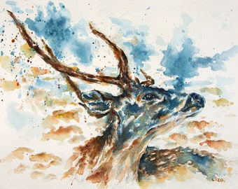 Heaven & Earth  - Axis Deer Original Watercolor Painting High Quality Giclée Print canvas home decor office nursery animal art gift PRINT