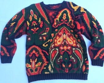 Vintage 80s green, red, and yellow patterned sweater. Size M/L