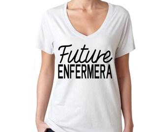 Future Enfermera v-neck white tee