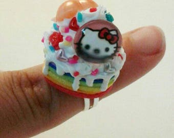 Colorful heart shaped deco ring rainbow with hello kitty