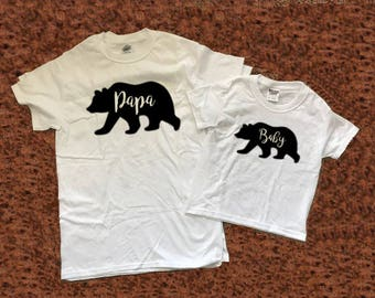 Papa Bear Baby Bear, Set Father Son Daughter matching shirts for him dad gift father child matching gift from kid
