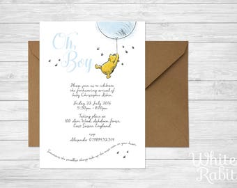 Printable Winnie the Pooh - Boy Baby Shower / Christening Invitation