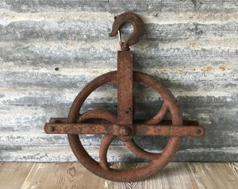 Vintage Large Metal Pulley Wheel, Industrial, Steampunk Decor