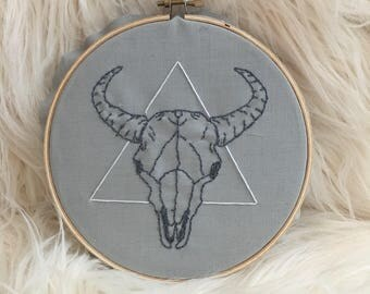 Animal Skull & Triangle Emboidery Wall Art
