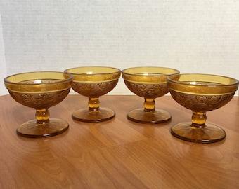 Ice Cream Bowls, vintage set of 4, Amber color Ice Cream Cups - Fruit Dessert cups - Dessert Glasses - Vintage Home Kitchen Decor