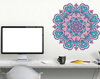 Wall Decal Removable Vinyl Decal Floral Mandala