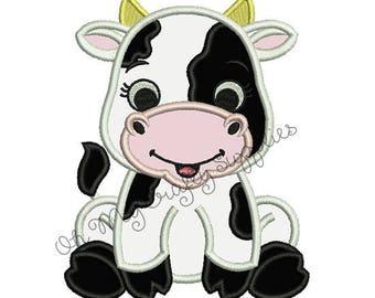 Cute Cow Applique Embroidery Design