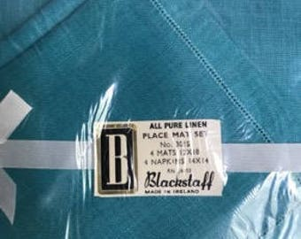 Blackstaff - Pure Linen Placemat and Napkin Set - Aqua