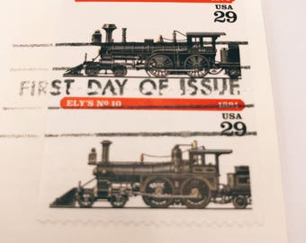 1 Vintage 1994 Ely's No. 10 and Eddy's No. 242 First Day of Issue Envelope with 2 Used Stamps | Train | Steam Train | Branchville