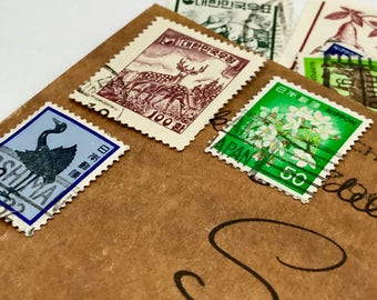 9 used vintage Oriental vintage postage stamps | Perfect for scrapbooking, stamp collecting, snail mail art, and crafting