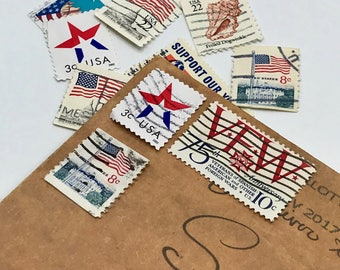 10 used vintage American Patriotic VFW vintage postage stamps | Perfect for scrapbooking, stamp collecting, snail mail art, and crafting
