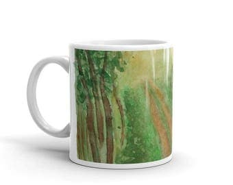 Forest path landscape original unique watercolor painting white glossy mug