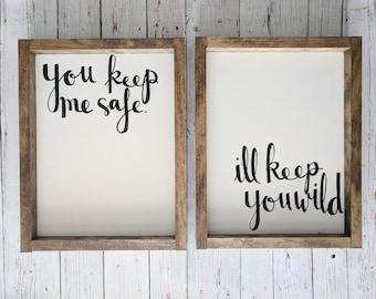 Safe/Wild Wood Framed Sign Set