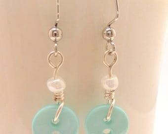 Teal Button Earrings