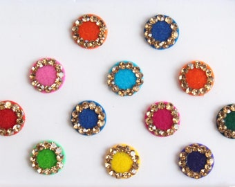 12 Bollywood Wedding Round Bindis Stones Design,Velvet Multicolor Bindis,Colorful Face Bindis,Bollywood Bindis,Self Adhesive Stickers