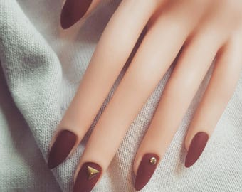 False Nails - Wine and Gold
