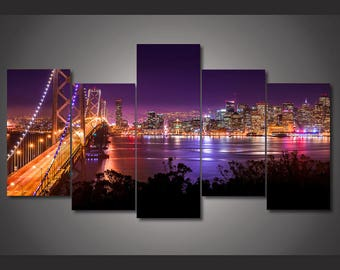 San Francisco Canvas Print. San Francisco Canvas Art, San Francisco Large Canvas Print, San Francisco 5 Piece Canvas Print,Framed