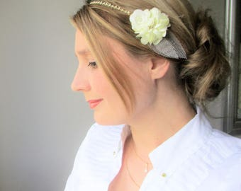 Beaded ivory flowers, tulle-headdress-bridal romantic and Bohemian chain headband.