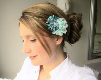 Headband/jewel hair flowers Mint in the water/green water/mint-romantic, Bohemian wedding maid of honor ceremony.