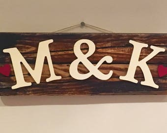 Personalised Initial Love wall sign