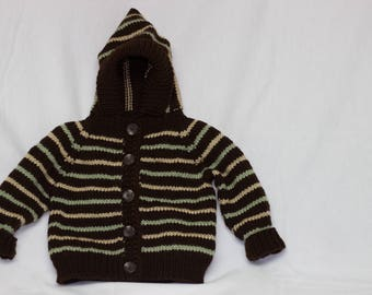 Striped Knitted Button-up Toddler Sweater