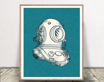 Divers Helmet Art Print, Nautical Art Printable, Diving Helmet Download, Nautical Digital Download,  Deep Sea Diver, Diver Helmet Printable