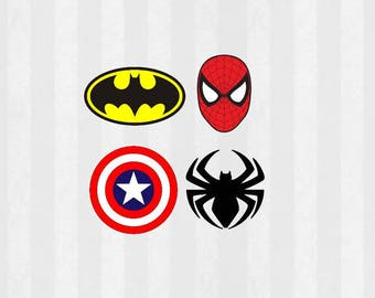 Superhero SVG Files bundle, 12 SVG Files, 4 PNG Files, Superhero Logo svg, Spiderman svg, Batman svg, Captain America svg, silhouette cameo
