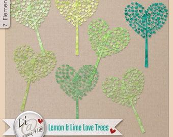 Digital Scrapbook | Clipart | , Commercial Use , Designer Watercolor Trees, PNG Elements, Lemon & Lime Love Trees