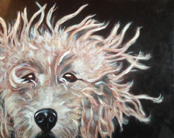 Wind-Blown Pup Original Acrylic Painting on Canvas