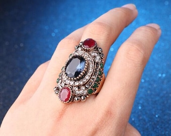 Bohemian style vintage sapphire retro gold plated anniversary ring size 7
