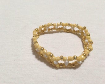 Yellow, Gold & White Double Braid Stretch Bracelet - Standard Size