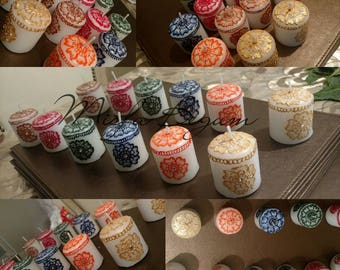 Personalised Henna 6 Piece Mini Candles