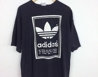 Vintage 90s Adidas Trefoil T Shirt L Big Logo Streetwear Hip Hop