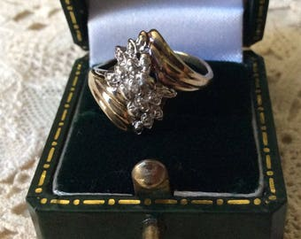best price-VINTAGE VERMEIL DIAMOND Ring - Genuine Diamond - Gold, Sterling silver - Beautiful Diamond Ring