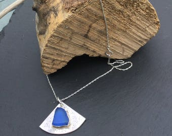 Cobalt blue seaglass necklace