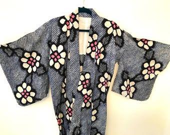 Vintage Japanese Men's Cotton Shibori Kimono Spa Robe