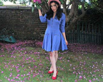Blue 70's Vintage Skater Dress - One of a Kind