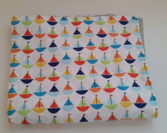 Baby Lovey Blanket - Security Blanket - Baby Boy - Sailboats - Grey Minky Dot
