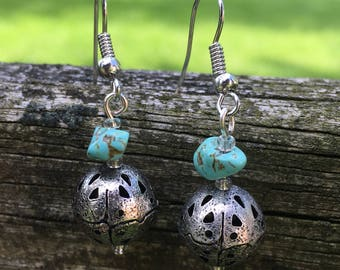 Silver, turquoise earrings