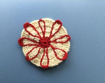 Cream & red flower coasters