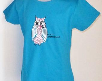 OWL girl T-Shirt Blue fuchsia funkie 4 to 12 years