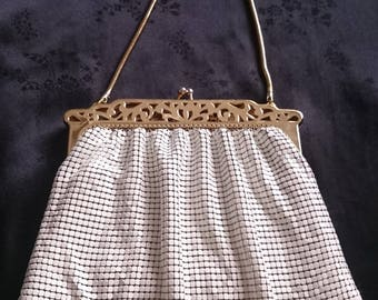 Whiting and Davis white metal mesh purse